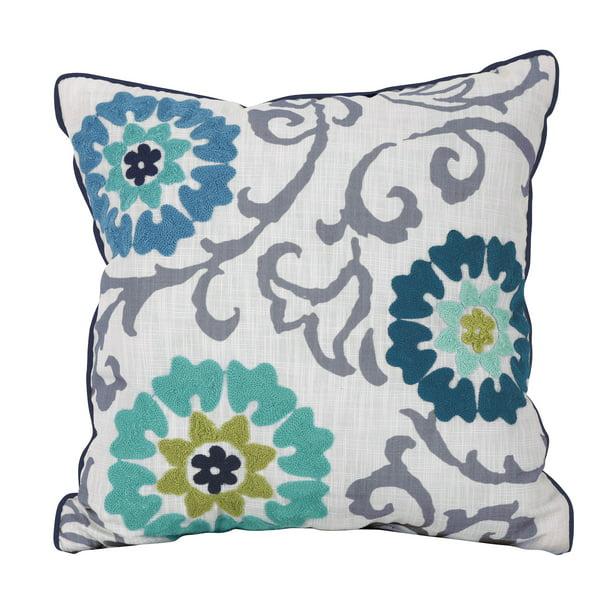 Better Homes Gardens Floral Medallion Decorative Throw Pillow Gray And Blue Walmart Com Walmart Com