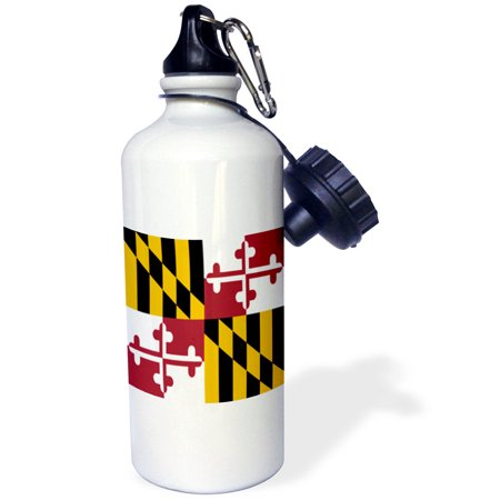 3dRose State Flag of Maryland - US American - Heraldic banner of George Calvert 1st Baron Baltimore America, Sports Water Bottle, 21oz