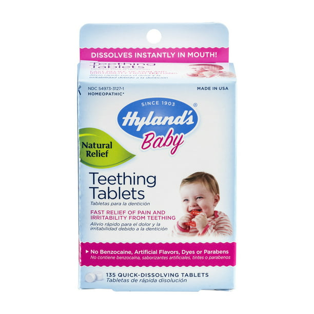 Baby Teething Tablets, Safe and Natural Relief of Teething Pain and Irritability in Infants and Babies, 67 Doses, 135 Total Tablets []