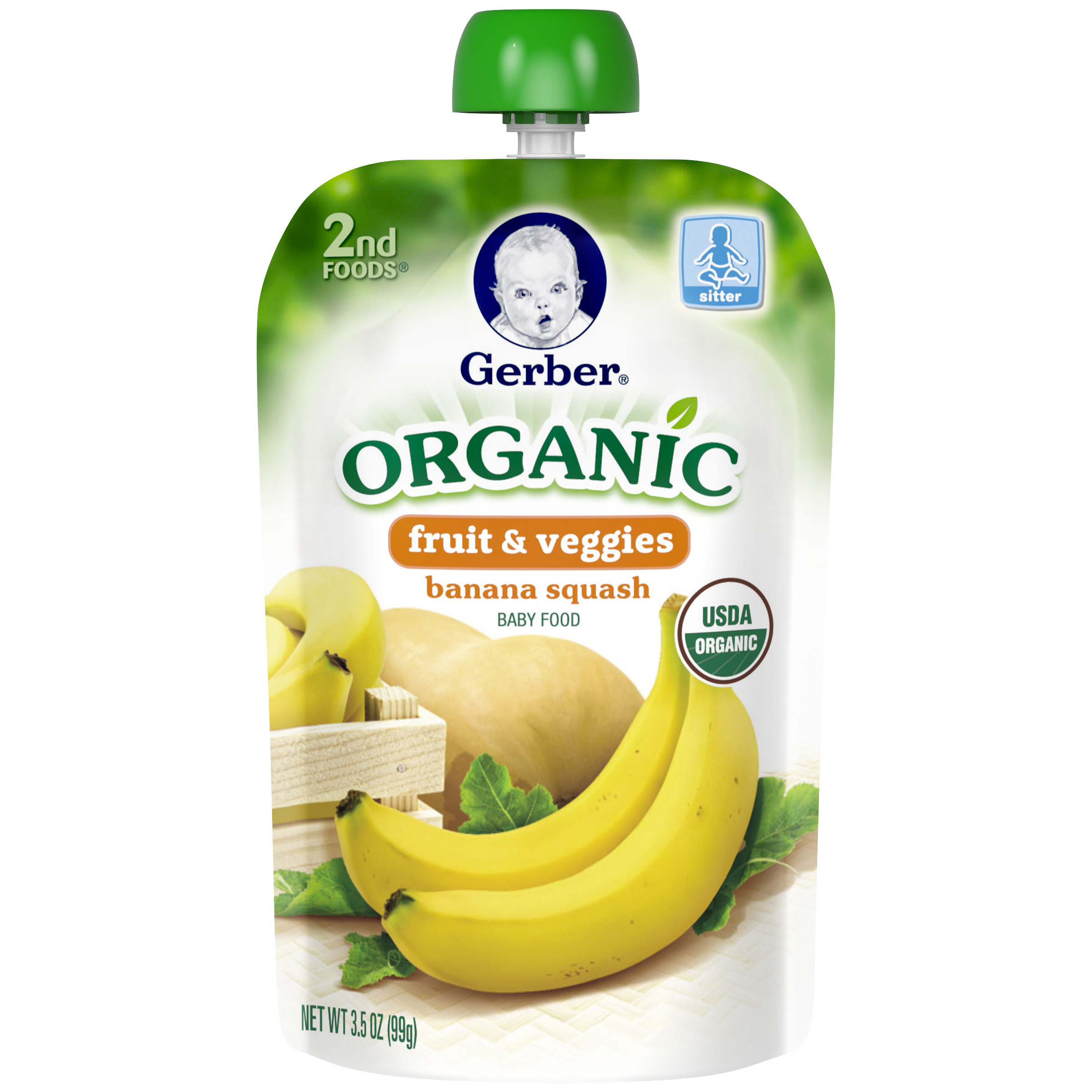 Gerber�� 2nd Foods�� Organic Fruit & Veggies Banana Squash Baby Food, 3.5 oz