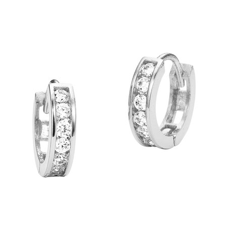 14kWhite Gold 13mm x 3mm Channel Huggie Children Baby Girls Hoop Earrings](Kid Earrings)