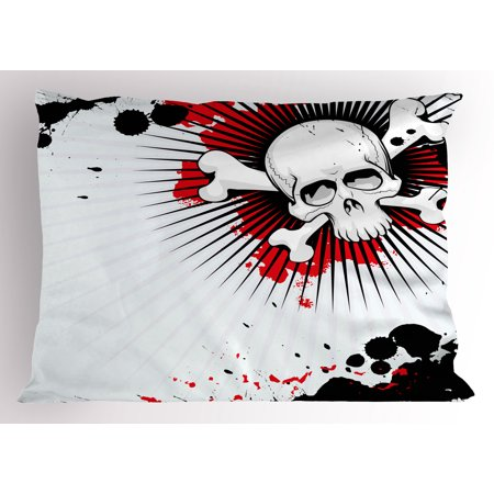 Really Scary Halloween Backgrounds (Halloween Pillow Sham Skull with Crossed Bones over Grunge Background Evil Scary Horror Graphic, Decorative Standard Queen Size Printed Pillowcase, 30 X 20 Inches, Pearl Red Black, by)