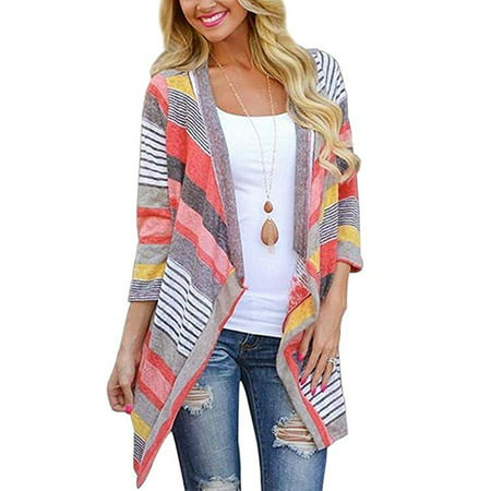 Black Friday Clearance! Red Striped Printed Lightweight Kimono Cardigan for Women, Open Front Draped Kimono Loose Cardigan Sweater for Juniors, 3/4 Sleeve Knitted Cardigan Gift for Ladies,S-XL