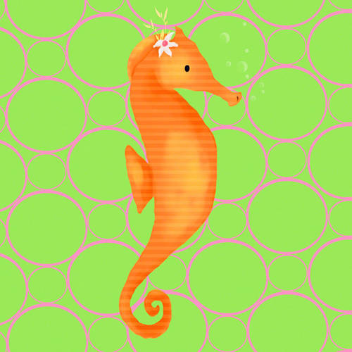 Oopsy Daisy's Penelope the Seahorse Canvas Wall Art, Size 10x10