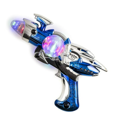 Toy Gun – Blue Light-Up Noise Blaster 11 ½ Inches Long With Cool And Fun Super Spinning Space Style – For Novelty And Gag Toys, Party Favor, Party Bag Stuffer, - Halloween Noises Soundboard