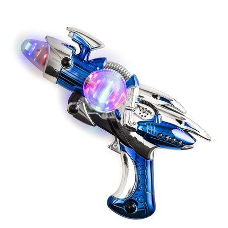 Toy Gun – Blue Light-Up Noise Blaster 11 ½ Inches Long With Cool And Fun Super Spinning Space Style – For Novelty And Gag Toys, Party Favor, Party Bag Stuffer, Party Giveaway, Gift Ideas- By Kidsco - Guns In Space
