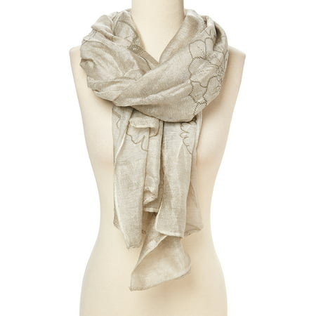 Cream Scarfs for Women Winter Fashion Style Warm and Cozy Shimmer Neck Scarves for Women Silk and Viscose Scarf Gift Ideas for Ladies and Girls Sparkly Party wear Summer Fall Accessory by Oussum