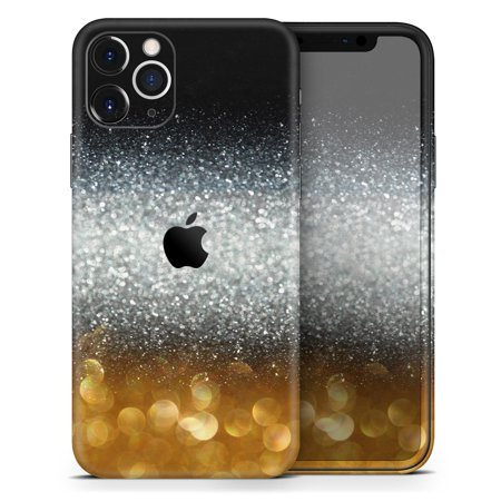 Unfocused Silver Sparkle with Gold Orbs - DesignSkinz Protective Vinyl Decal Wrap Skin Cover compatible with the Apple iPhone X (Full-Body, Screen Trim & Back Glass Skin)