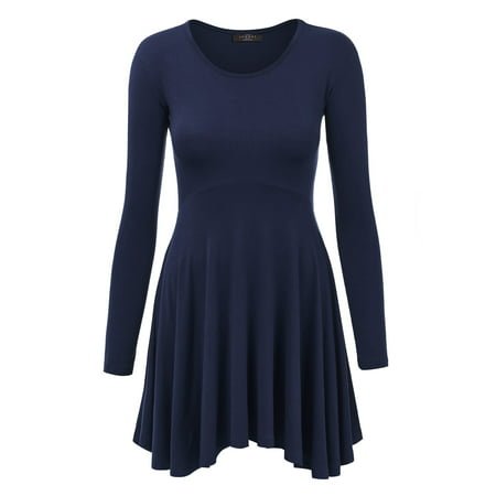 MBJ WT1150 Womens Long Sleeve Curved Empire Line Draped Tunic Top L NAVY