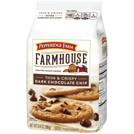 (3 Pack) Pepperidge Farm Farmhouse Thin & Crispy Dark Chocolate Chip Cookies, 6.9 oz. - Holiday Cookie Bags
