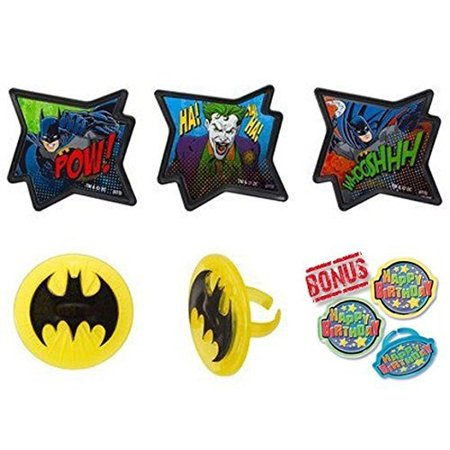 Batman Pow Whooshhh Cupcake Toppers with Bonus Birthday Ring 25 pc