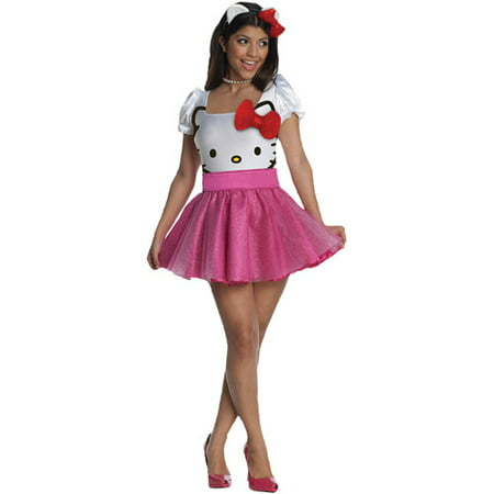 Hello Kitty Pink Adult Halloween Costume](Kitty Cat Halloween Costume For Kids)