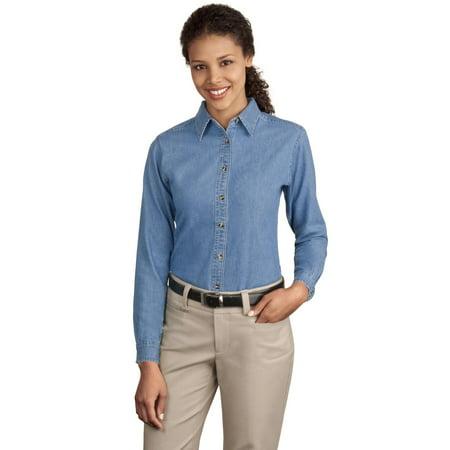 - Port & Company Women's Long Sleeve Value Denim Shirt - LSP10