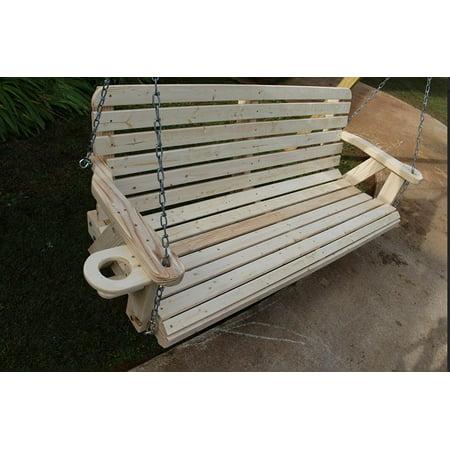 Heavy Duty Backguard (Home Garden Lawn Outdoor Backyard Patio 4ft Amish Pine Heavy Duty 700 Lb Porch Cup Holders Wide Slat Swing)