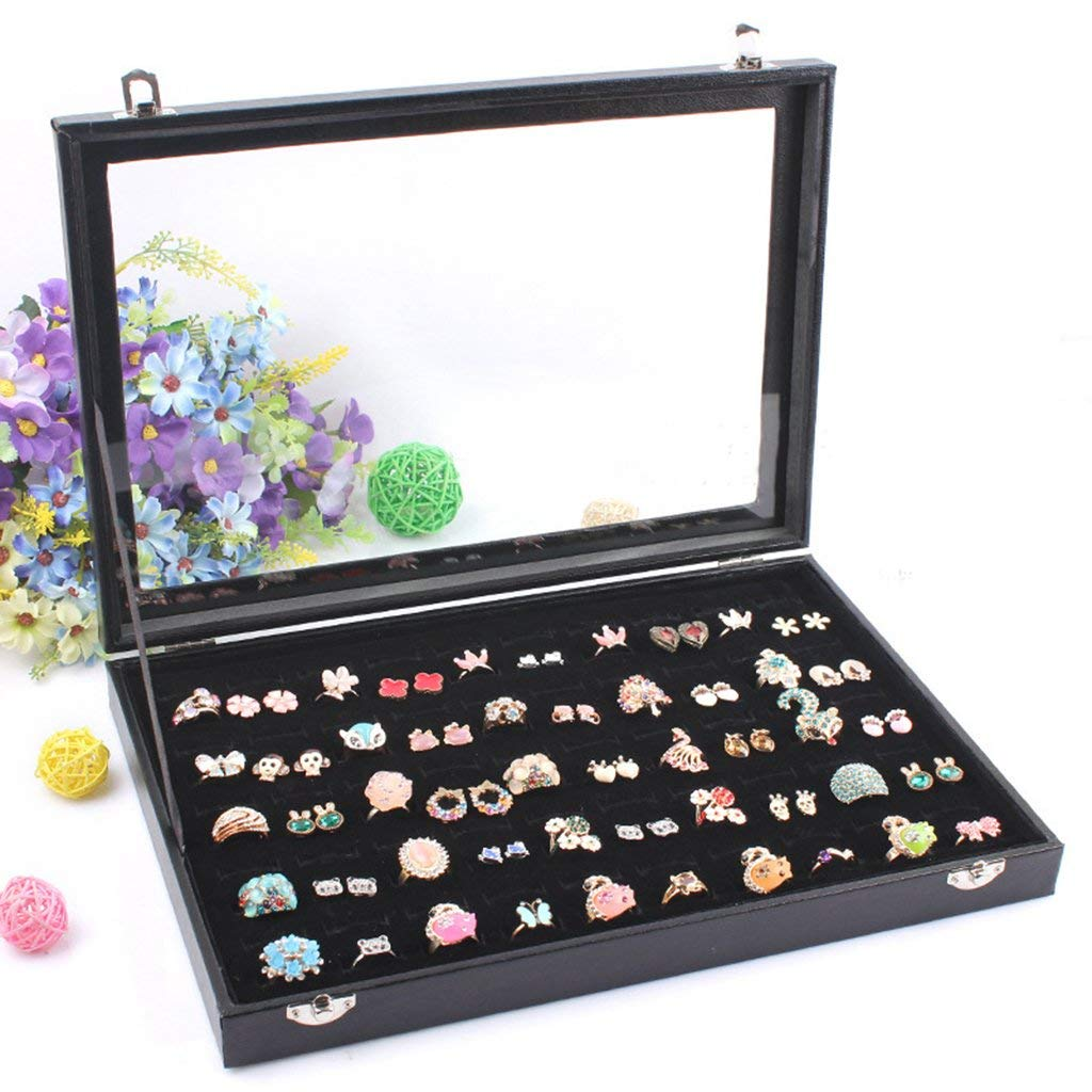 100 Slot Jewelry Ring Tray Velvet Clear Lid Rings Holder Showcase Display Storage Organizer Stackable(100 Slot Ring Box)