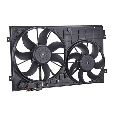 TOPAZ 1K0121207BB9B9 Dual Radiator Cooling Fan Assembly for 2.5L Volkswagen Passat Jetta Golf