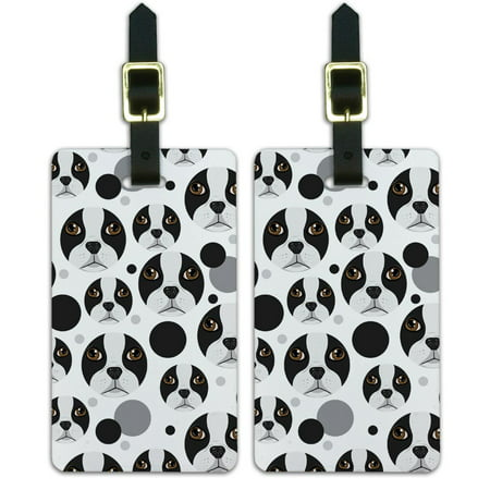 Face Dog Set - Graphics and More Boston Terrier Face Pet Dog Luggage Suitcase Carry-On ID Tags Set of 2