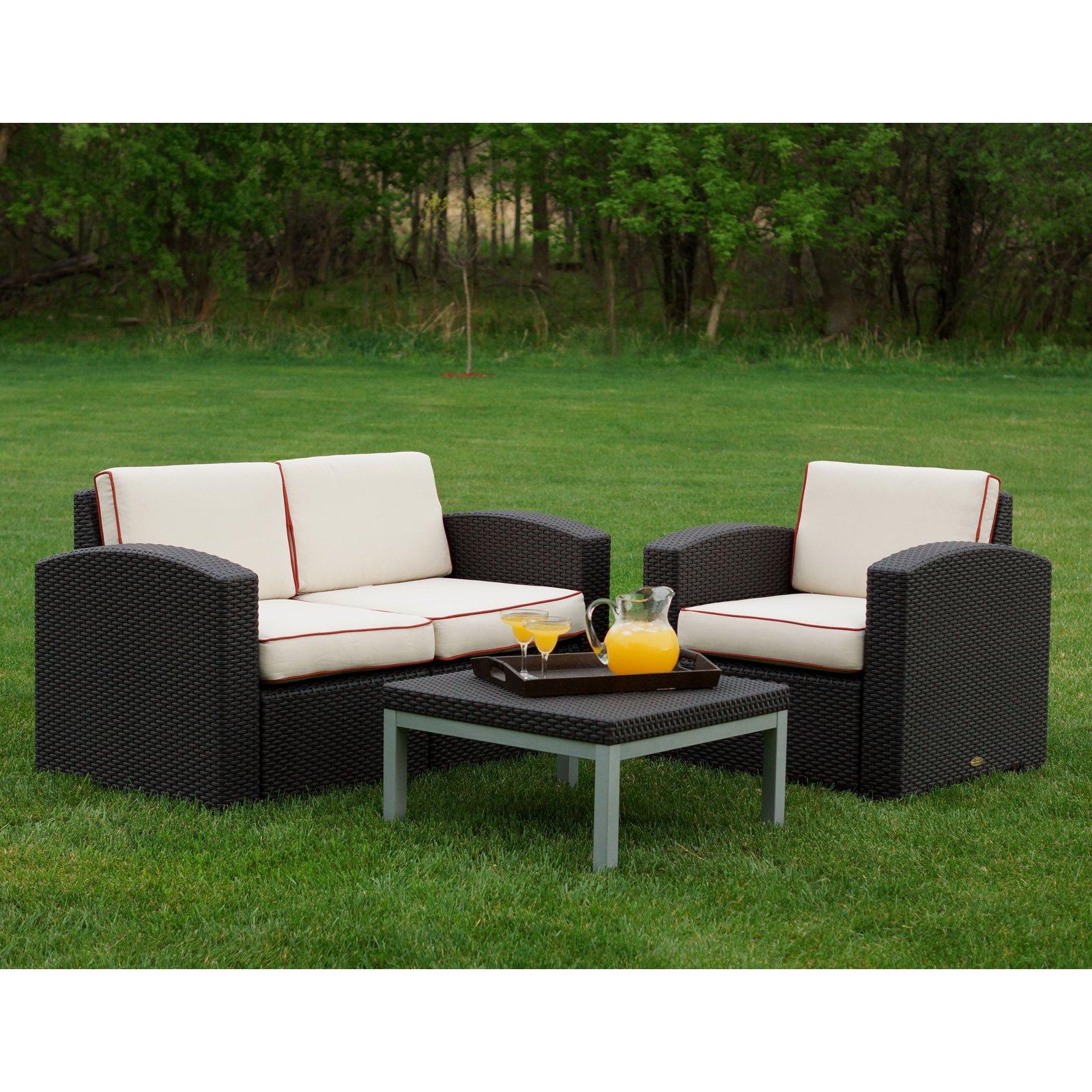 Strata Furniture Cielo 3 Piece Chair and Loveseat Conversation Set