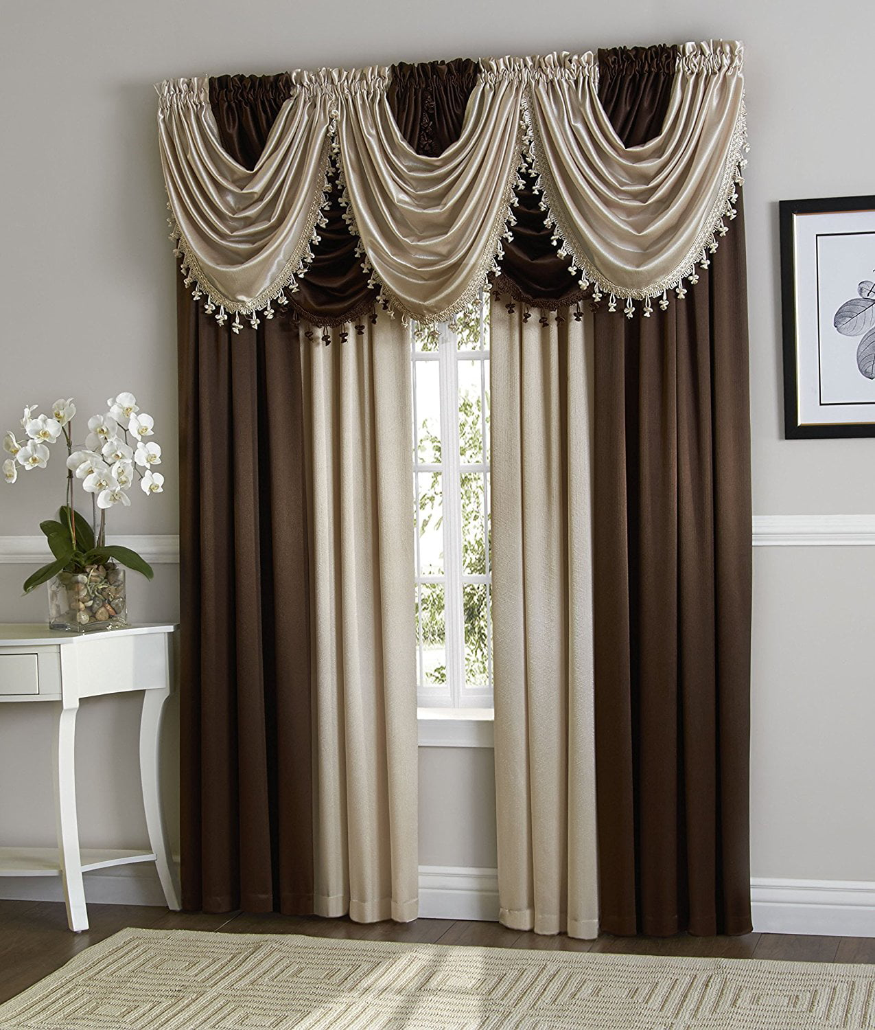 Hyatt Window Curtain & Fringed Valance Complete 9 Piece Window Treatment Set (Coffee Bean & Beige) by