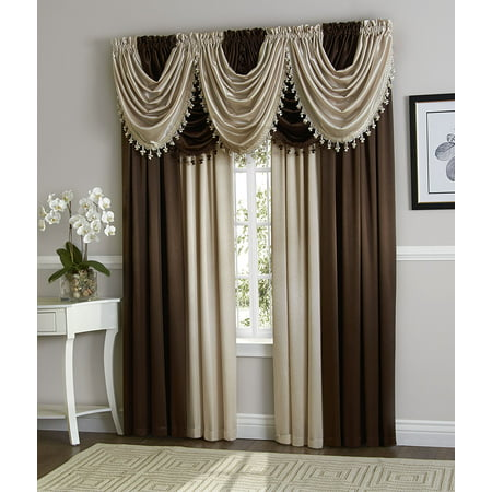 Hyatt Window Curtain & Fringed Valance Complete 9 Piece Window Treatment Set - (Coffee Bean & Beige)
