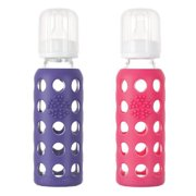 Lifefactory Glass Baby Bottle with Silicone Sleeve 9 Ounce, Set of 2 - Purple...