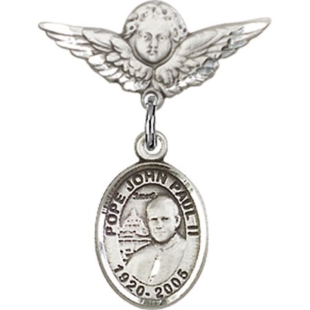 Sterling Silver Baby Badge with St. John Paul II Charm and Angel w/Wings Badge Pin 7/8 X 3/4 inches