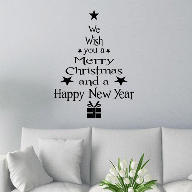 Christmas Tree Letters Stick Wall Art Decal Mural Home Room Decor Wall Sticke BK