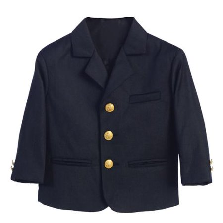 Boys Navy Golden Buttons Special Occasion Blazer - Velvet Blazer For Boys