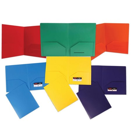 JAM Paper Heavy Duty Plastic 2 Pocket School Folders, Assorted Primary Colors, 6/pack - Heavy Duty Expanding Pockets