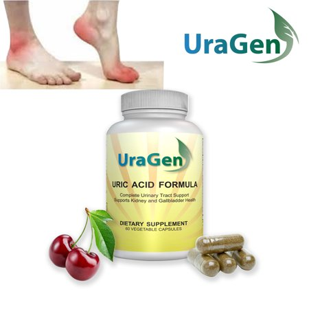Uric Acid Cleanse Flush - Supports Healthy Uric Acid Levels & Healthy Kidney Function -  Potent Tart Cherry Extract - New Lowering Formula, 60 VCaps - (UraGen 1 (Kidney Liver Function)