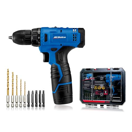 "ACDelco ARD12126S1 12V Lithium-Ion Cordless 2-Speed 3/8"" Drill Driver Kit (10 Bits, Battery, Charger, Tool"
