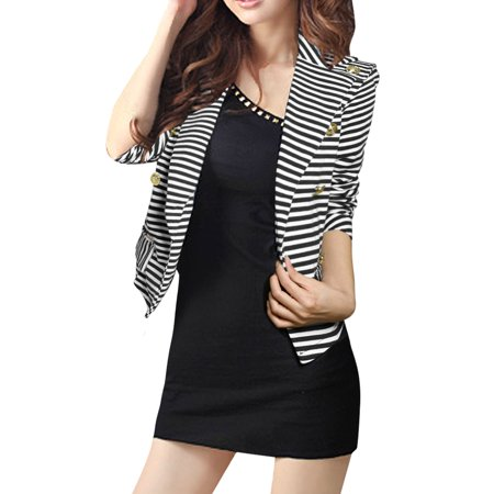 (Woman Striped Peaked Collar Double Breasted Blazer Coat)