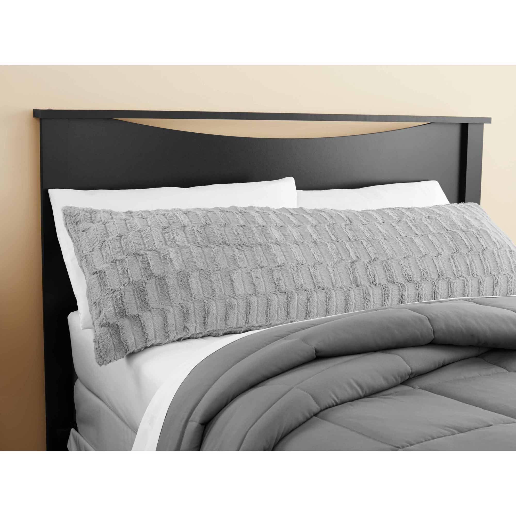 Mainstays Solid Grey Bamboo Fur Body Pillow Cover - Walmart.com