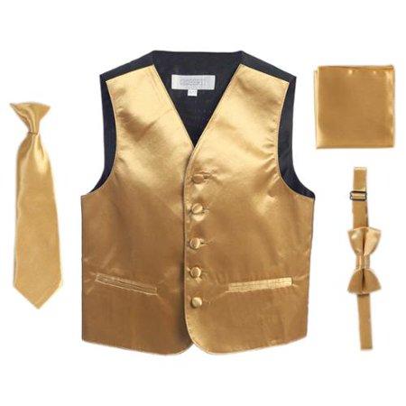 Gold Vest Necktie Bowtie Pocket Square Boys Set 8-14 (Buy Gold)