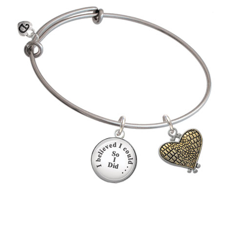 Two Tone Alligator Print Heart - I Believed I Could So I Did Glass Dome Bangle Bracelet