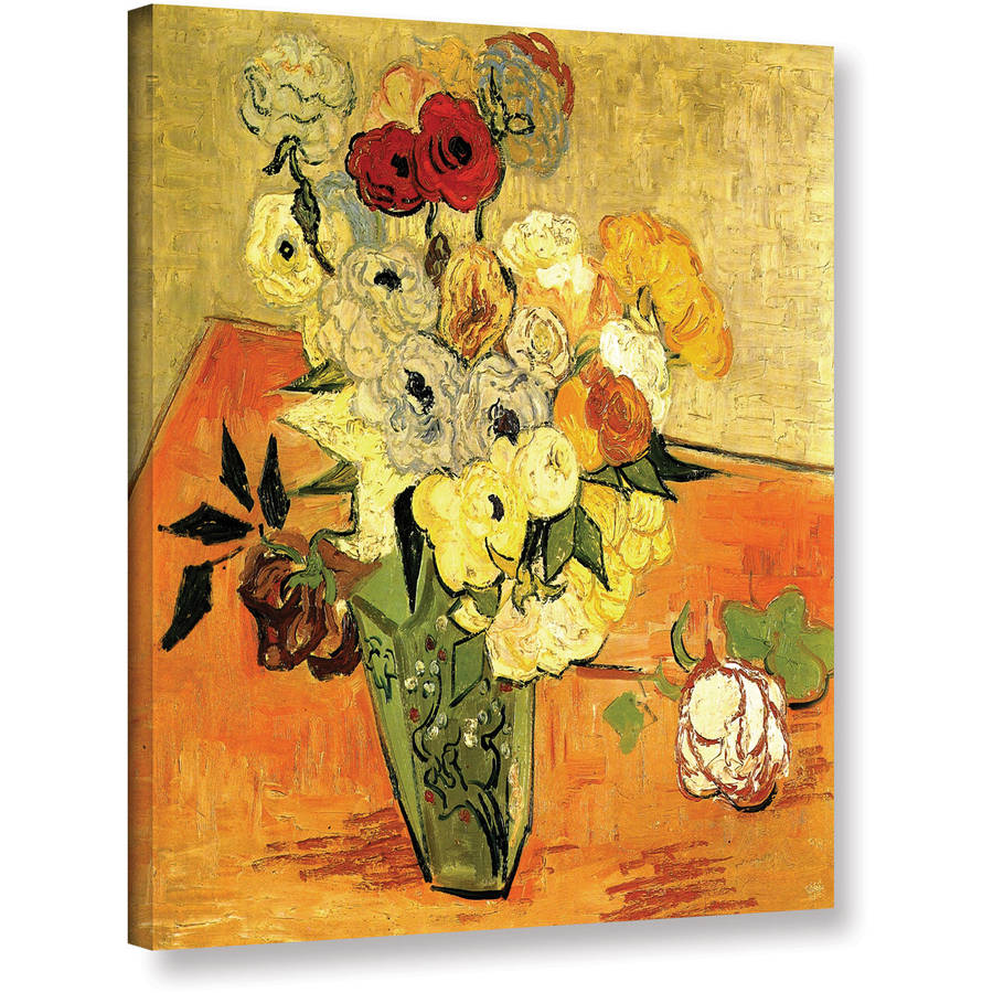 """Vincent Van Gogh """"Japanese Vase With Roses And Anemones"""" Wrapped Canvas Art"""