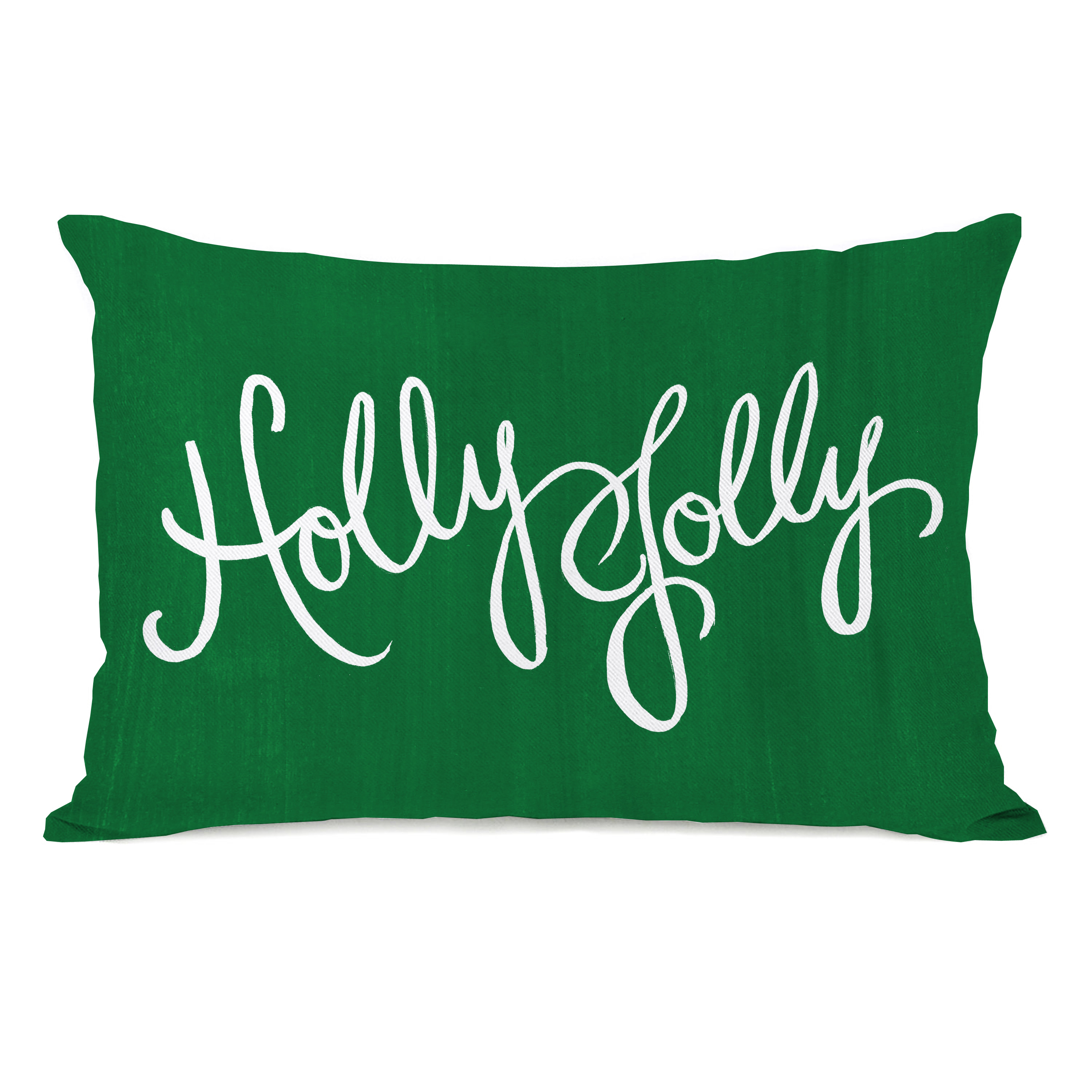 Holly Jolly Script - Green 14x20 Pillow by Timree