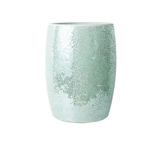 Glass Mosaic Decorative Trash Can Dia, Glass Bathroom Trash Can