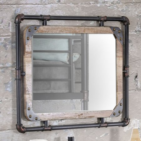 "Furniture of America Stockholm Industrial Decorative Wall Mirror 32""x24"""
