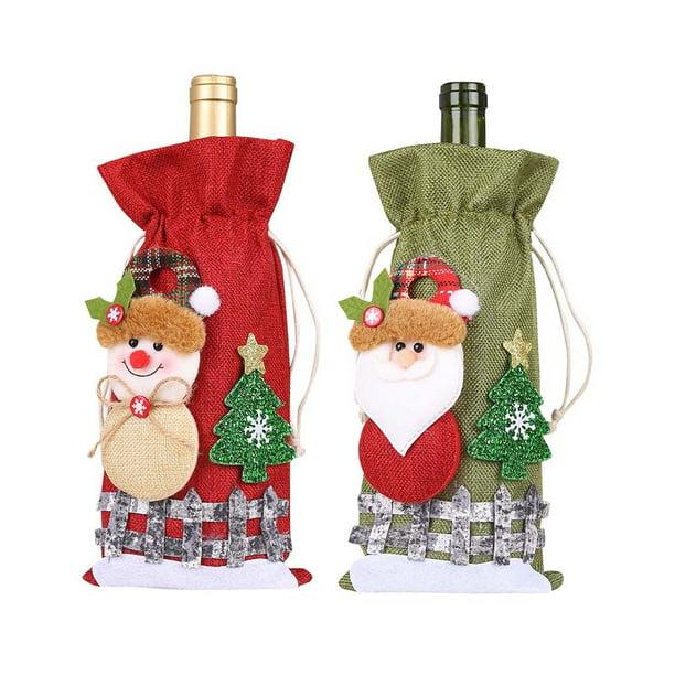 Christmas Santa Clause Wine Bottle Bag Cover Xmas Festival Party Table Decor New
