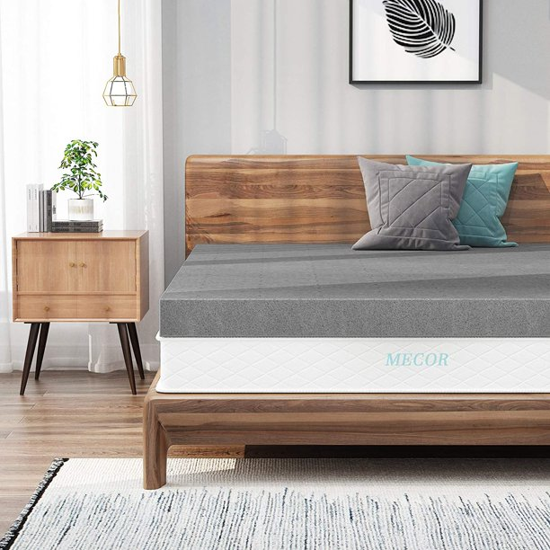 Mecor 3 Inch Full Bamboo Charcoal Infused Memory Foam Mattress Topper, Double Size Bed Mattress Pad, CertiPUR-US Certified & Ventilated foam topper for bed, Gray