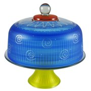 """Frosted Dark Blue and White Hand Painted Glass Convertible Cake Dome 11"""""""