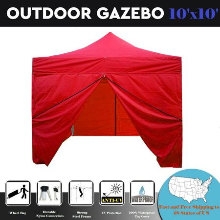10'x10' Pop up Canopy Wedding Party Tent Gazebo EZ Red -