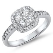 Engagement White CZ Halo Wedding Ring ( Sizes 4 5 6 7 8 9 10 11 12 ) New .925 Sterling Silver Band Rings by Sac Silver (Size 8)