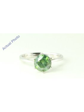 83f1fd07c184f8 Product Image 14k White Gold Round Diamond Classic six prong set engagement  ring (1.64 Ct, Green