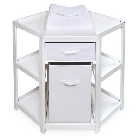Badger Basket Diaper Corner Baby Changing Table With Hamper And White
