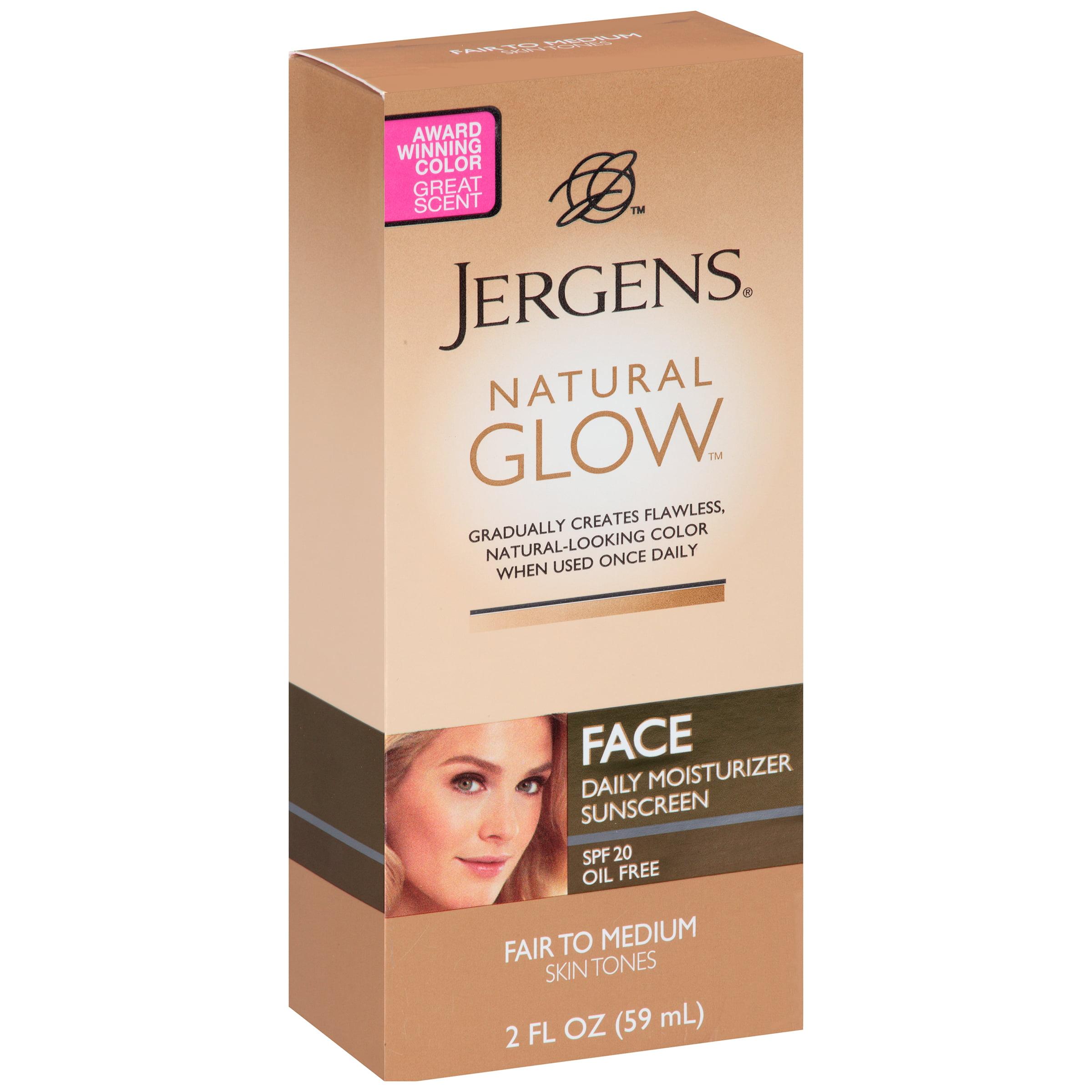 Jergens Face Daily Moisturizer Sunscreen Natural Glow SPF 20, 2.0 FL OZ