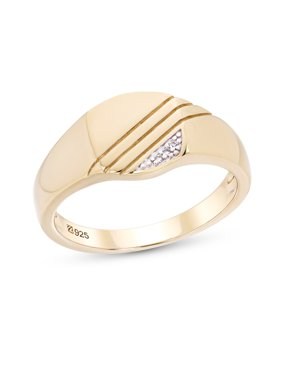0f83b4123242b3 Product Image Sterling Silver 14K Gold Plated Cubic Zirconia Men's Ring