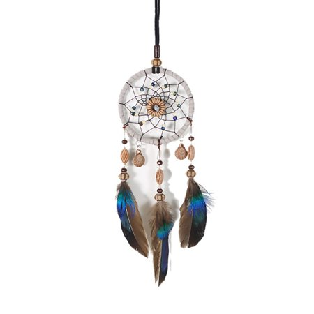Mini Car Dream Catcher Beaded Natural Feathers Hanging Ornaments Mirror Room Bedroom Wall Decor Native American Ring