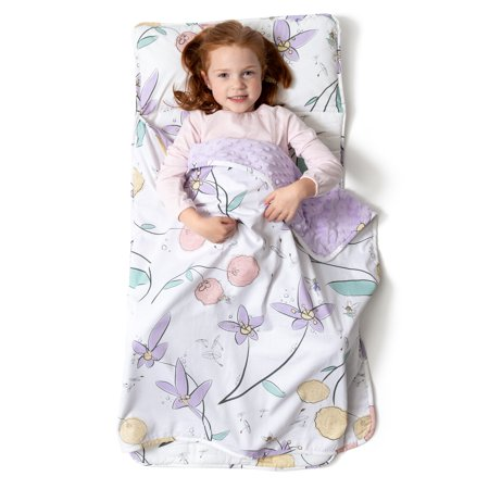 JumpOff Jo - Little Jo's Toddler Nap Mat - Children Sleeping Bag for Daycare, and Sleepovers - Fairy Blossoms - 43 x 21